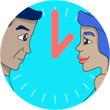 Two connected users on a clock face